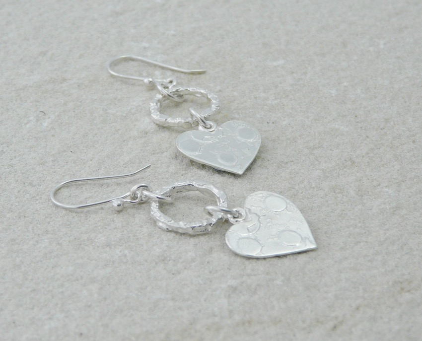 Circle and heart earrings