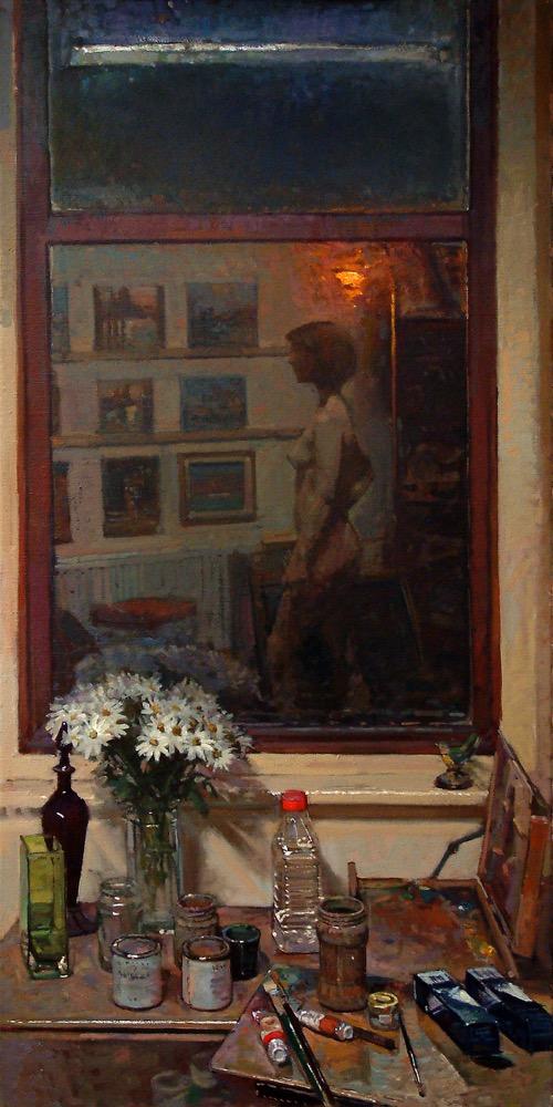 Reflected Model in the Studio Window